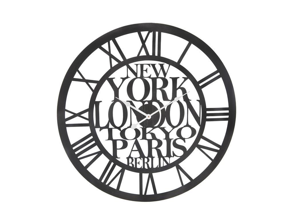 Αναλογικό Μεταλλικό Ρολόι Τοίχου διαμέτρου 60cm σε μαύρο χρώμα, Wall clock