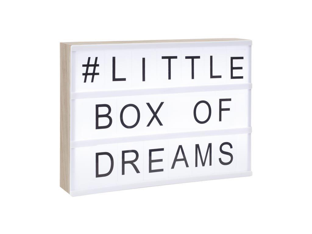 Ξύλινος Φωτιζόμενος Πίνακας A4 LED με 82 χαρακτήρες, 30x5x22 cm, Light Letter Box