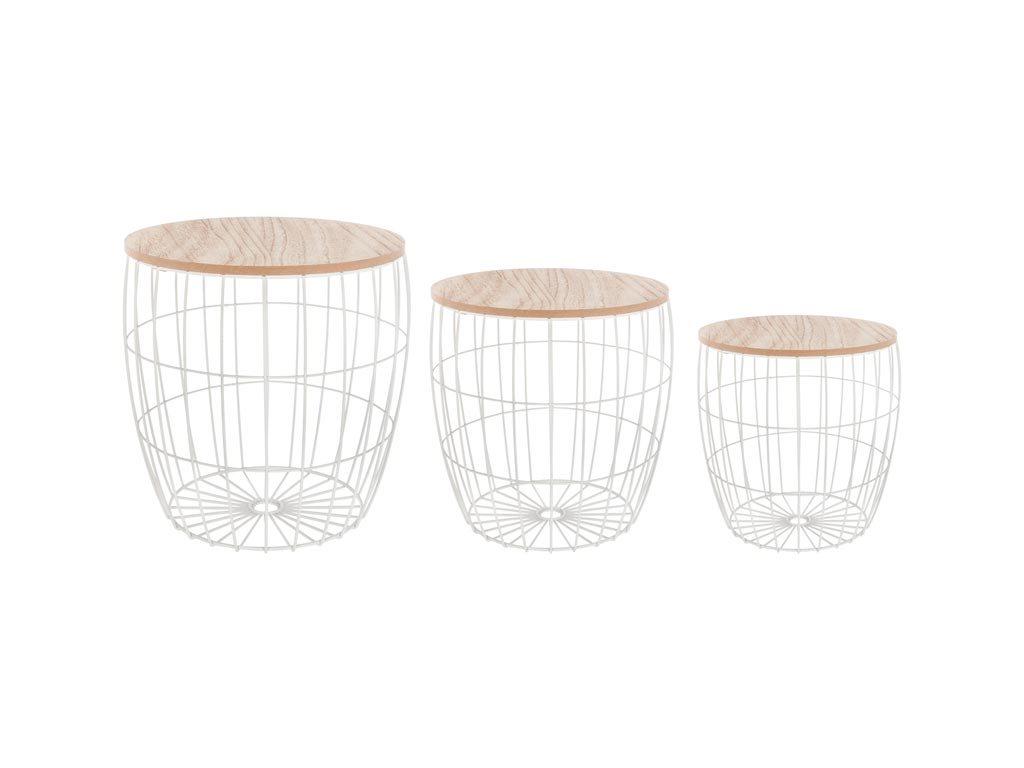 Σετ Μεταλλικά Τραπεζάκια Σαλονιού 3 τεμ σε σχήμα καλαθιού σε λευκό χρώμα, Side tables set