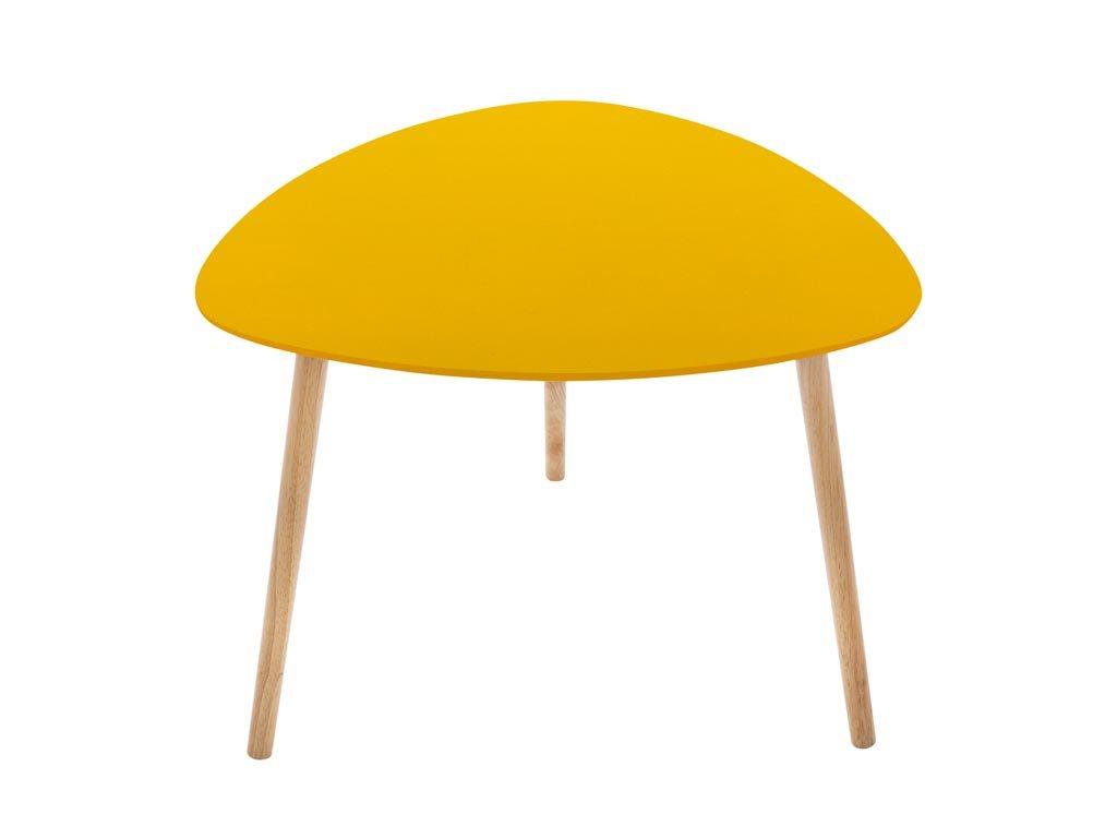 Ξύλινο Τραπεζάκι Σαλονιού σε κίτρινο χρώμα, 60x60x45 cm, Side table