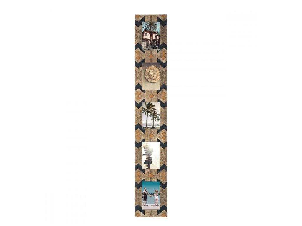 Ξύλινη Πολυκορνίζα Κορνίζα Τοίχου για 5 φωτογραφίες με σκαλιστό σχέδιο, 16x2x102.2 cm Multicolour