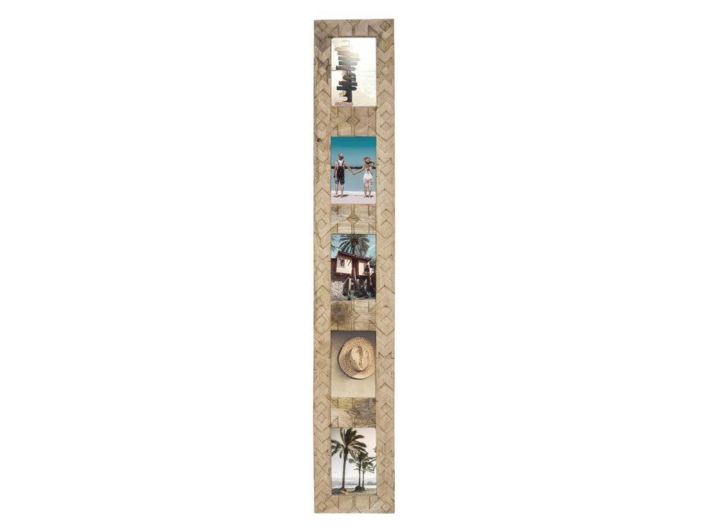 Ξύλινη Πολυκορνίζα Κορνίζα Τοίχου για 5 φωτογραφίες με σκαλιστό σχέδιο, 16x2x102.2 cm Natural
