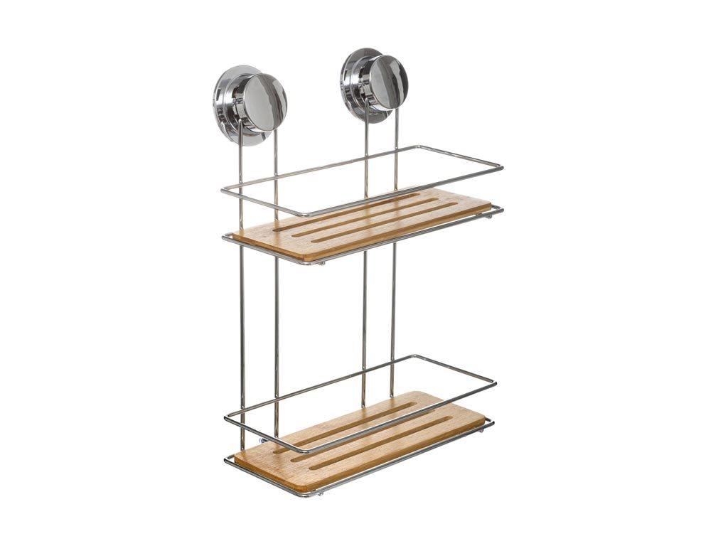 Μεταλλικό Ράφι Μπάνιου με Βεντούζες 2 επιπέδων για οργάνωση, 25x13.2x36.50cm