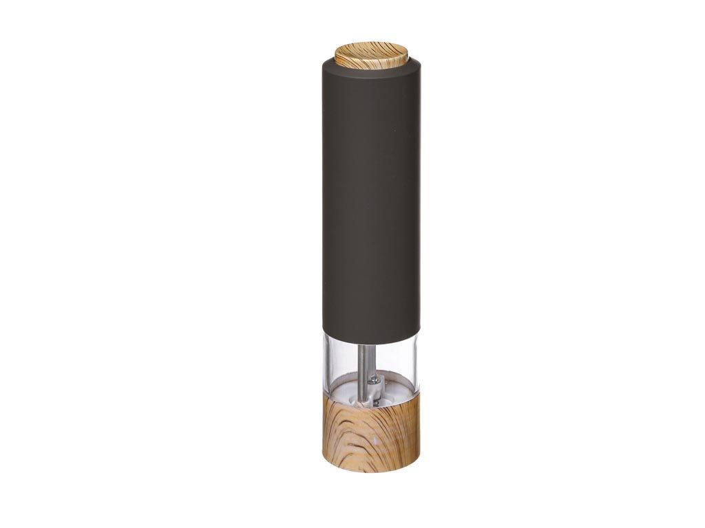 Ηλεκτρικός Μύλος Πιπεριού σε Μαύρο χρώμα με ξύλινη λεπτομέρεια, 5.5X22.3 cm