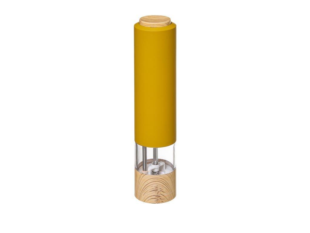 Ηλεκτρικός Μύλος Πιπεριού σε Κίτρινο χρώμα με ξύλινη λεπτομέρεια, 181807C