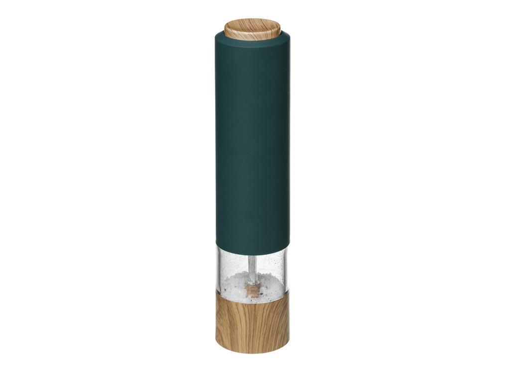 Ηλεκτρικός Μύλος Πιπεριού σε Πράσινο χρώμα με ξύλινη λεπτομέρεια, 5.5X22.3 cm