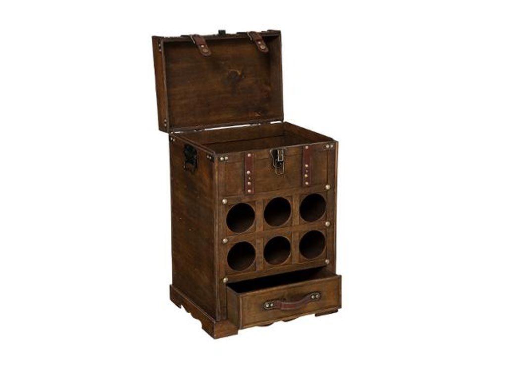Κάβα Κρασιών Μπουκαλοθήκη Ξύλινο Έπιπλο 6 θέσεων σε vintage αναπαλαιωμένο σχέδιο, 38.5x28x58.5 cm