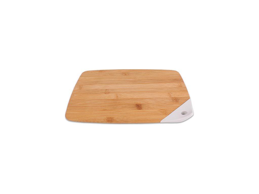 Ξύλινη Επιφάνεια Κοπής από Bamboo και λεπτομέρεια σιλικόνης σε λευκό χρώμα, 32x24x1.2cm, FR-1862