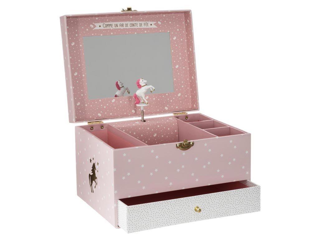 Κοσμηματοθήκη Μπιζουτιέρα Μουσικό κουτί με συρτάρι και καθρέφτη, 21.5x16.5x14 cm, Jewelry Music Box