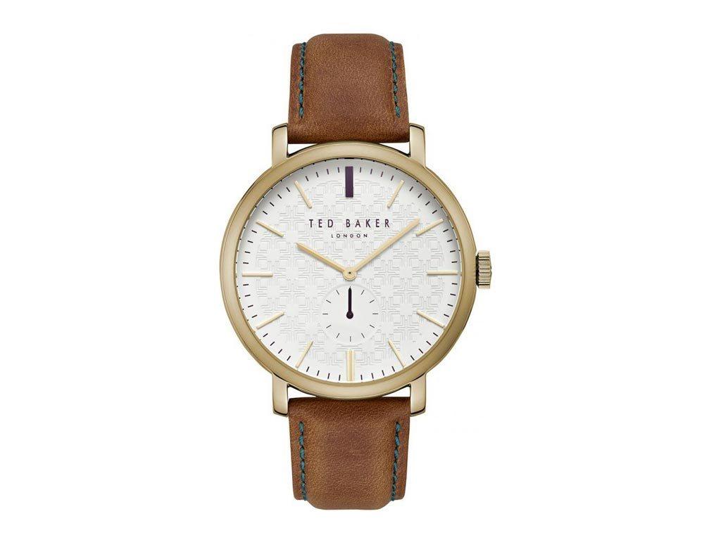 Ted Baker Ανδρικό Ρολόι χειρός, 40mm, με δερμάτινο λουράκι και λευκό Καντράν, TE15193006