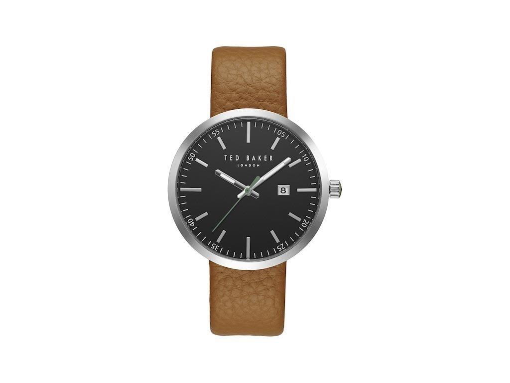 Ted Baker Ανδρικό Ρολόι χειρός, 43mm, με δερμάτινο λουράκι και μαύρο Καντράν, TE10031561