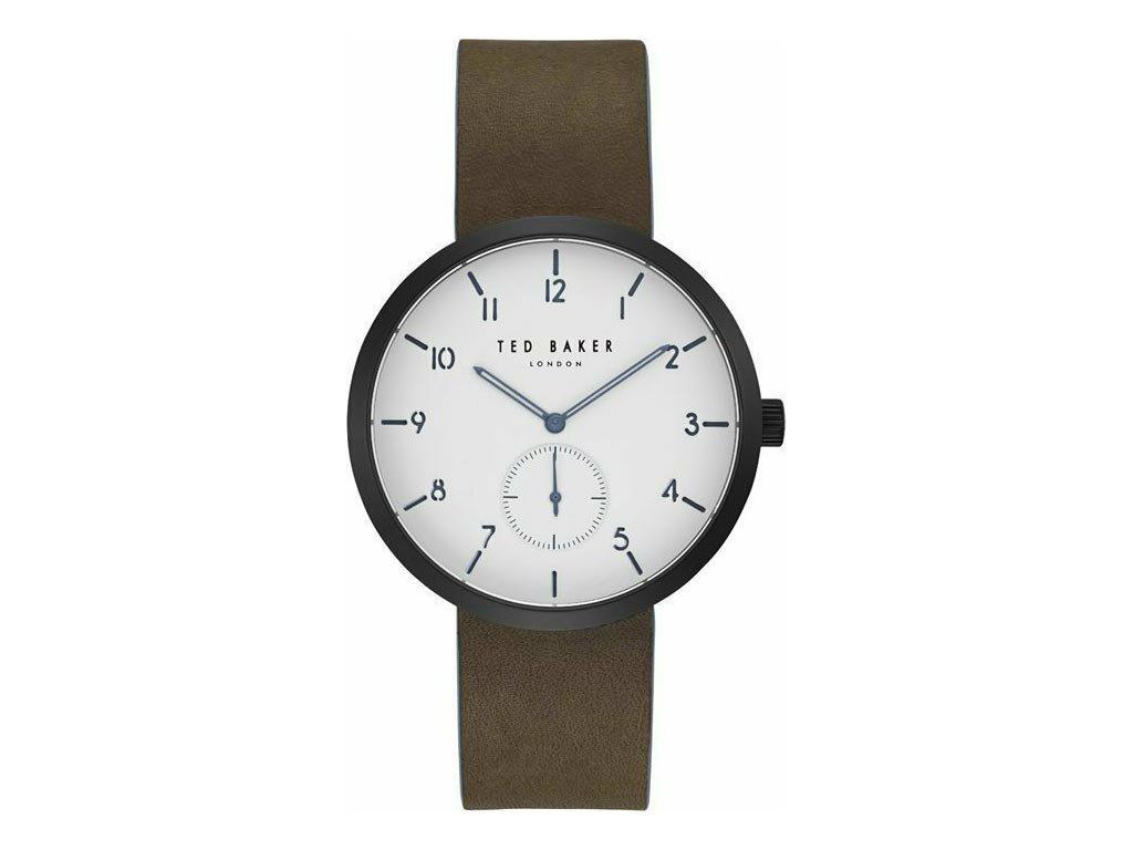 Ted Baker Ανδρικό Ρολόι χειρός, 42mm, με δερμάτινο λουράκι και λευκό Καντράν, TE50011002