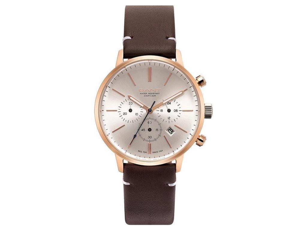 Gant Wortham Ανδρικό Ρολόι χειρός 42mm με δερμάτινο λουράκι σε καφέ χρώμα, GT076003