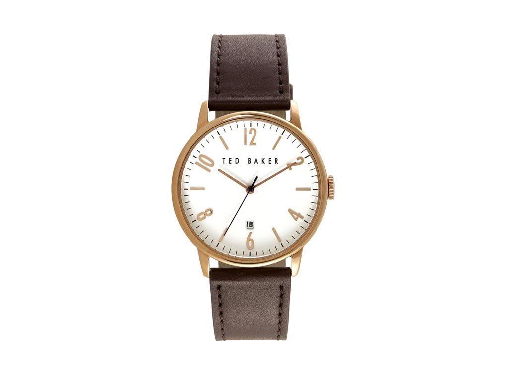 Ted Baker Ανδρικό Ρολόι χειρός, 43mm, με δερμάτινο λουράκι και λευκό Καντράν, TE10030651