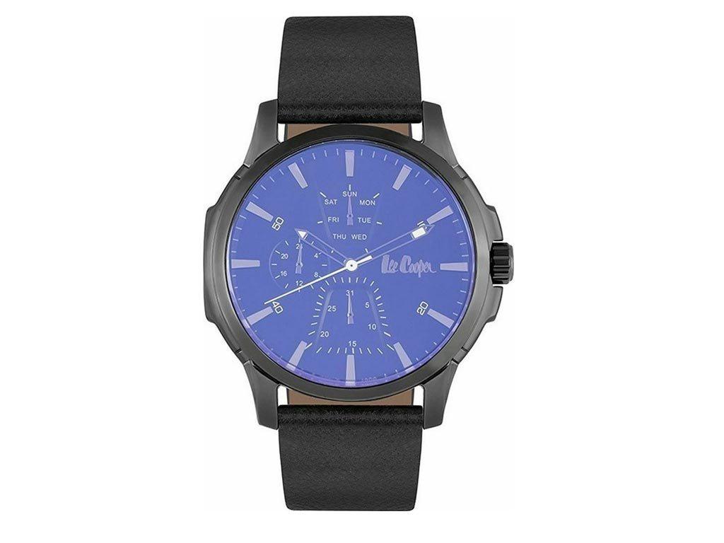 Lee Cooper Ανδρικό Ρολόι χειρός 46mm με δερμάτινο λουράκι και μπλε καντράν, LC06889.062