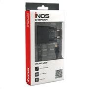 Φορτιστής Ταξιδίου inos Micro USB με Extra Έξοδο USB Μαύρο 2.1A