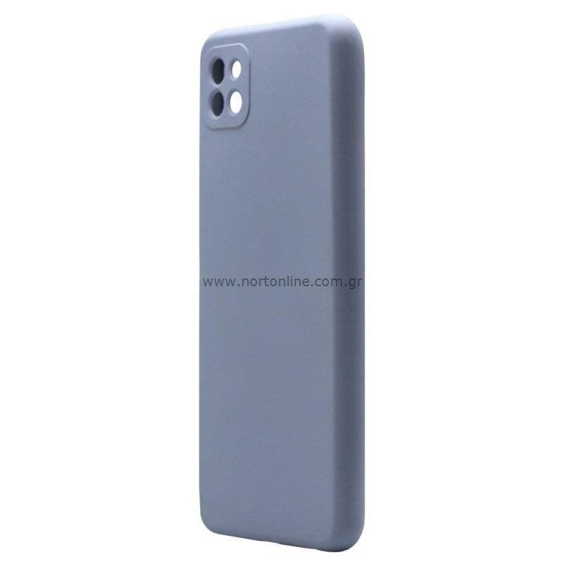 Θήκη Liquid Silicon inos Samsung A226B Galaxy A22 5G L-Cover Γκρι-Μπλε
