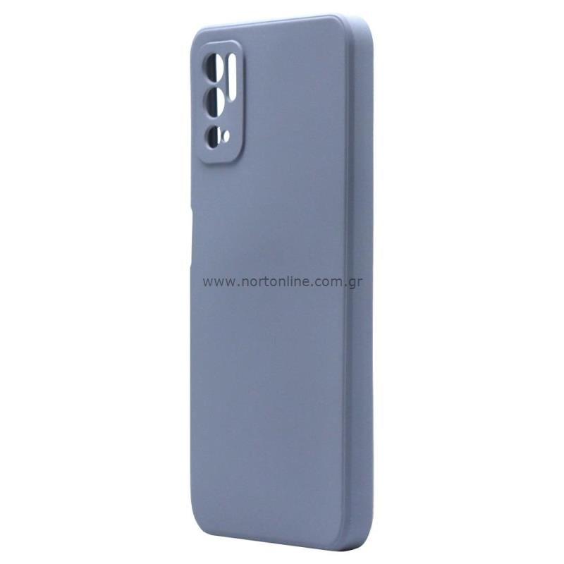 Θήκη Liquid Silicon inos Xiaomi Redmi Note 10 5G L-Cover Γκρι-Μπλε