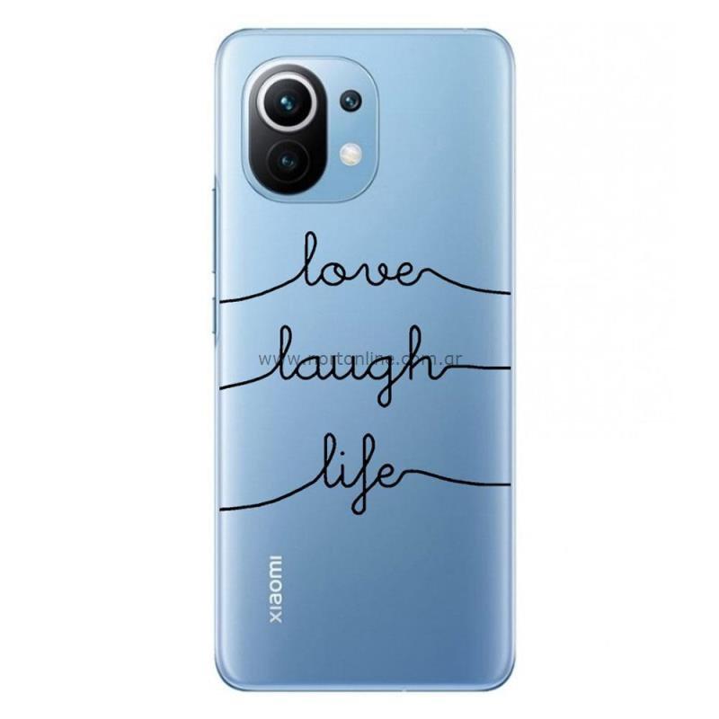 Θήκη TPU inos Xiaomi Mi 11 5G Art Theme Love-Laugh-Life