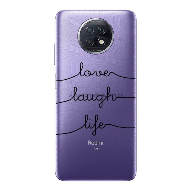 Θήκη TPU inos Xiaomi Redmi Note 9T Art Theme Love-Laugh-Life