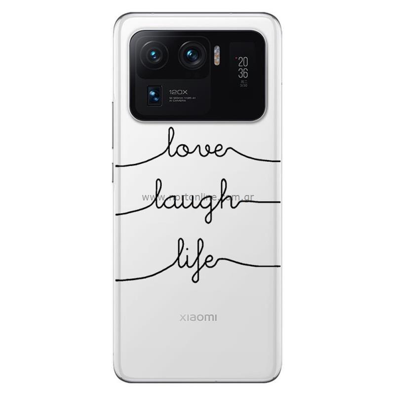 Θήκη TPU inos Xiaomi Mi 11 Ultra Art Theme Love-Laugh-Life