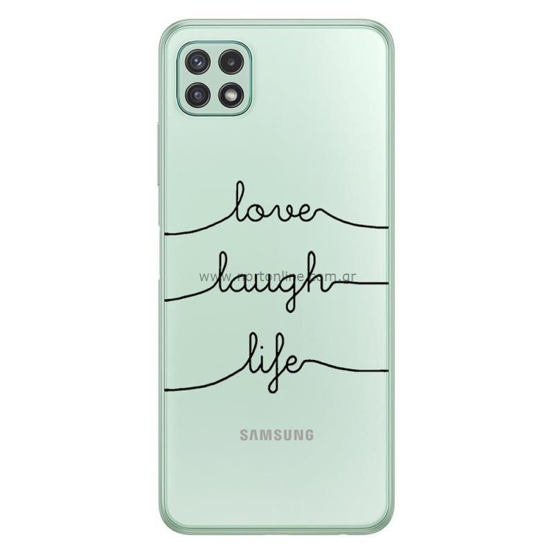 Θήκη TPU inos Samsung A226B Galaxy A22 5G Art Theme Love-Laugh-Life