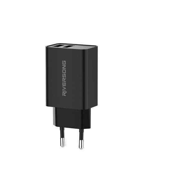 Riversong Travel Adapter SafeKub D2 2.4A Dual USB Black