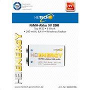 Heitech 04002186 Επαναφορτιζόμενη μπαταρία 6F22 9V E-Block 200 mAh 8.4 V