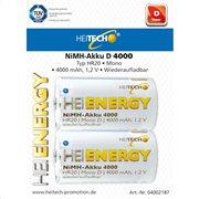Heitech 04002187 Επαναφορτιζόμενες μπαταρίες Ni-Mh 2 τμχ HR20 D 4000 mAh 1.2 V