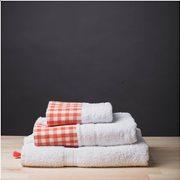 White Fabric Πετσέτα Gingham Πορτοκαλί Μπάνιου