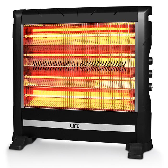 Life Σόμπα Χαλαζία 2800W Vesta 2 Βαθμίδες Θέρμανσης με Θερμοστάτη, Ανεμιστήρα, Υγραντήρα και 2 Βαθμίδες Θέρμανσης