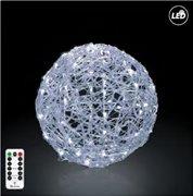 Fos Me Φωτιζόμενη LED Μπάλα Φ30cm σε ψυχρό φως με μπαταρία με τηλεχειριστήριο με 8 λειτουργίες 27-00285