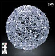 Fos Me Φωτιζόμενη LED Μπάλα Φ50cm σε ψυχρό φως με μπαταρία με τηλεχειριστήριο με 8 λειτουργίες 27-00286
