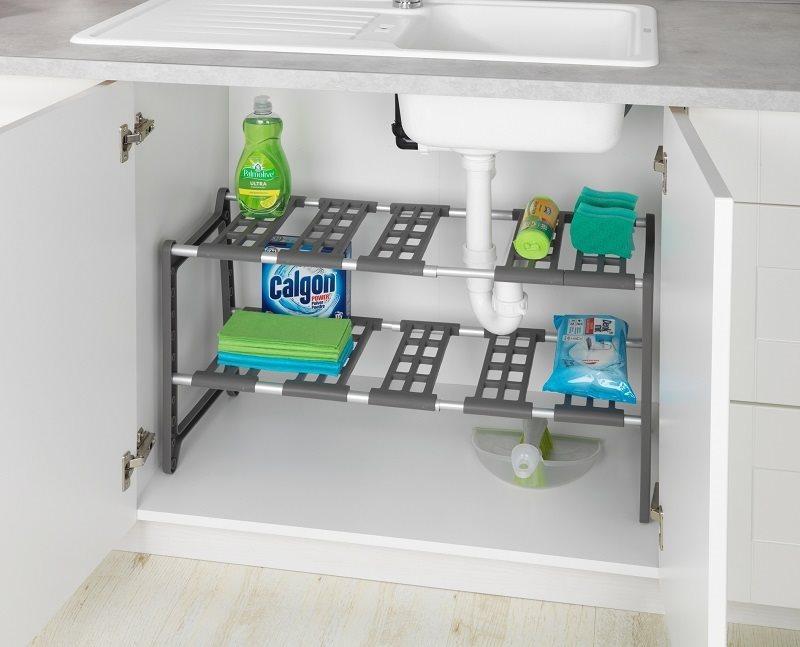 Wenko Βάση Οργάνωσης Κουζίνας Πλαστική σε Γκρι Χρώμα 276801121