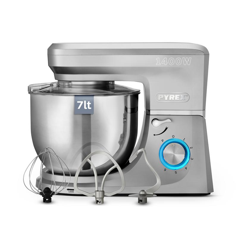 Pyrex Κουζινομηχανή 1400W με Ανοξείδωτο Κάδο 7lt SB-1030 Silver 6 Ταχύτητες και 4 Εξαρτήματα