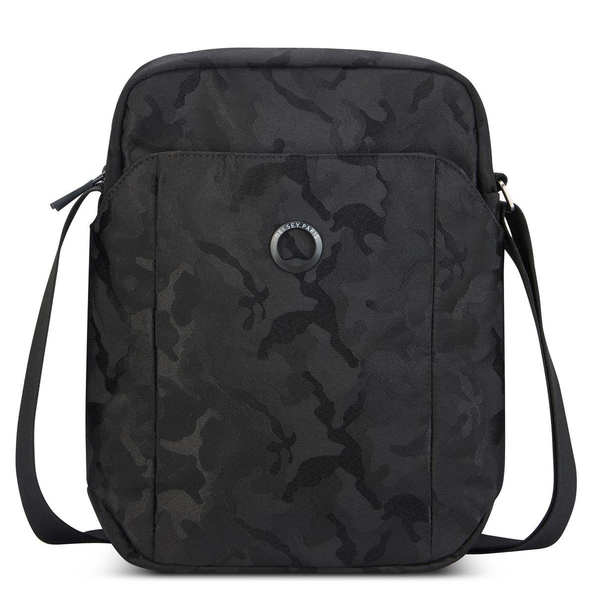 Delsey Τσαντάκι ώμου κάθετο 30x23x8cm 2 θέσεων για tablet 10.1'' σειρά Picpus Black Camouflage