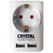 CRYSTAL AUDIO SUW-1 WHITE  ΜΟΝΟΠΡΙΖΟ + 2xΘΥΡΕΣ USB 2.4A