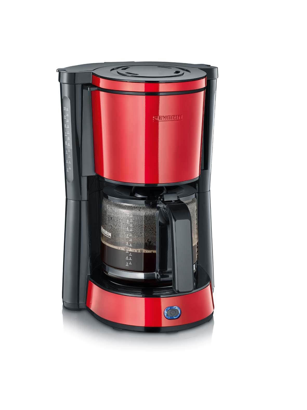 SEVERIN Καφετιέρα ''Type'' 1000W, 10 Φλυτζάνια Κόκκινη-Μαύρη - 4817