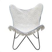 Inart Μεταλλική/Υφασμάτινη Καρέκλα 3-70-623-0004