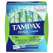 Tampax Ταμπόν Με Απλικατέρ Pearl Compak Silent Wrapper για Αυξημένη Ροή 16τμχ