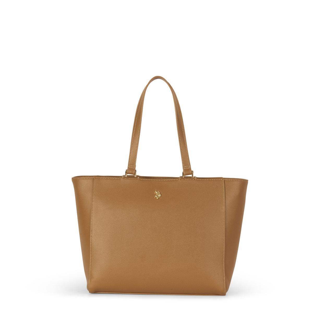 US Polo Assn. Τσάντα χειρός γυναικεία 32x15x27cm Jones Camel