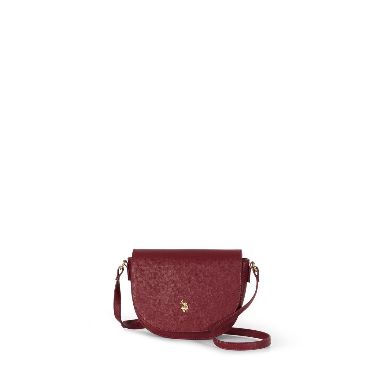 US Polo Assn. Τσάνται ώμου γυναικεία 21x7x12cm Jones Wine