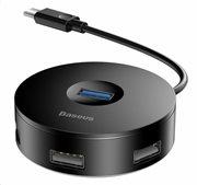 Baseus USB Hub 1x USB 3.0 3x USB 2.0 CAHUB-U01 Mαύρο