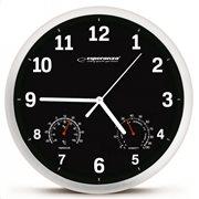 ESPERANZA Ρολόι τοίχου Lyon EHC016K θερμόμετρο/υγρόμετρο 25cm μαύρο