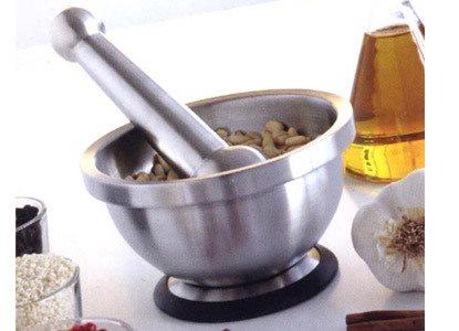 Mastrad Γουδί και Γουδοχέρι Ανοξείδωτο με Αντιολισθητική Βάση Σιλικόνης