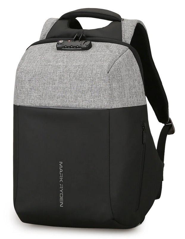 """MARK RYDEN τσάντα πλάτης MR6768 με θήκη laptop 15.6"""" λουκέτο TSA γκρι"""