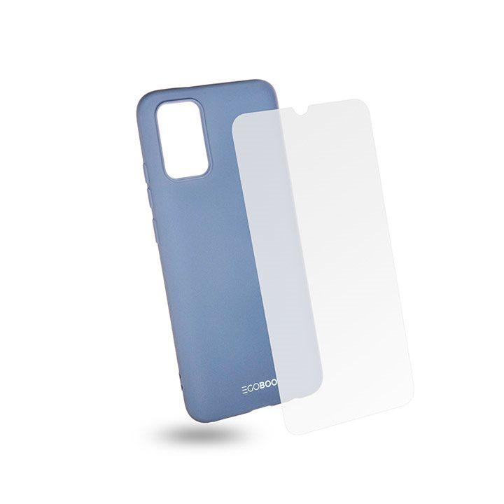 EGOBOO Tempered Glass + Case Rubber TPU Light Grey (Samsung A02s)