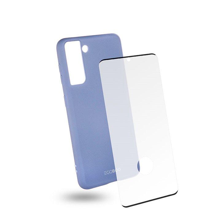 EGOBOO Tempered Glass + Case Rubber TPU Light Violet (Samsung S21 4G)