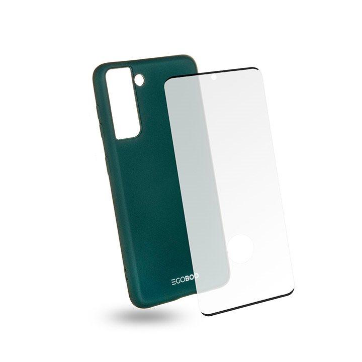 EGOBOO Tempered Glass + Case Rubber TPU Ruby Green (Samsung S21 Ultra)