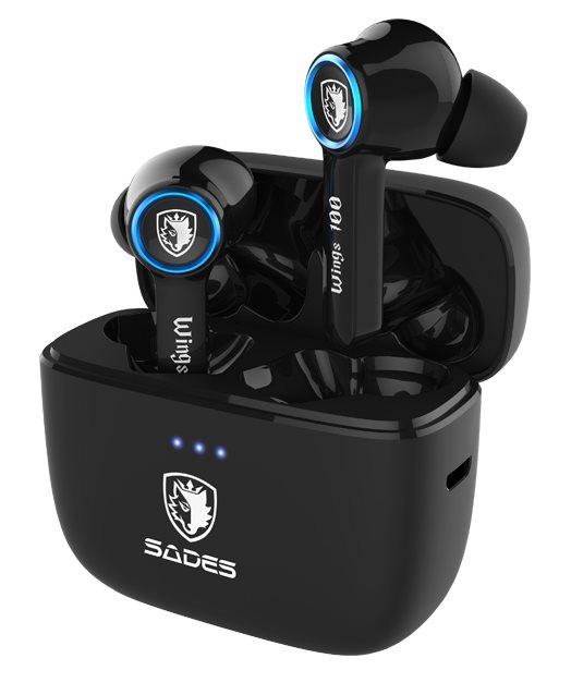 SADES gaming earphones Wings 100 με θήκη φόρτισης True Wireless μαύρα